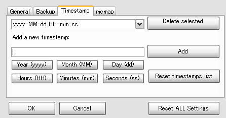 Minecraft Backup Assistant - conf - timestamp